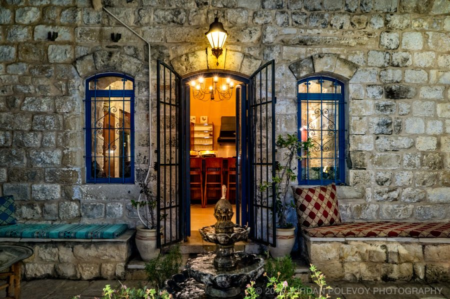 Courtyard at night. Romantic Villa Tifet in Safed.