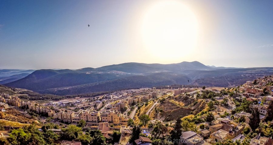 Aerial of Safed from Villa Tiferet vacation home.